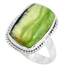 12.31cts natural green swiss imperial opal silver solitaire ring size 10 p61485