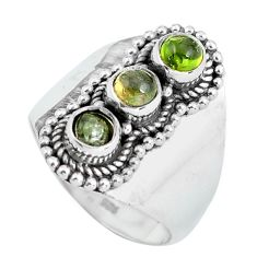 1.96cts natural green tourmaline 925 sterling silver ring size 7.5 d32031