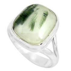 Natural green tourmaline in quartz 925 silver solitaire ring size 8 p61729