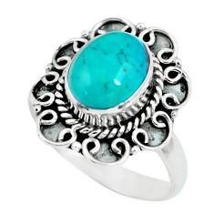 4.06cts natural green turquoise tibetan 925 silver solitaire ring size 8 p63283
