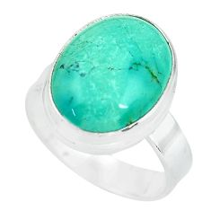 9.99cts natural green turquoise tibetan 925 silver solitaire ring size 8 p64584
