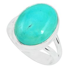 10.60cts natural green turquoise tibetan 925 silver solitaire ring size 8 p64596