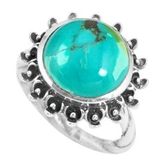 7.07cts natural green turquoise tibetan 925 silver solitaire ring size 6 p69822
