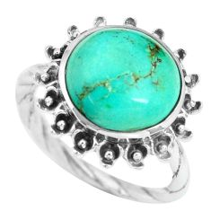 6.58cts natural green turquoise tibetan 925 silver solitaire ring size 8 p69847