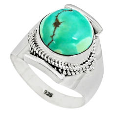 6.48cts natural green turquoise tibetan 925 silver solitaire ring size 8 p78732