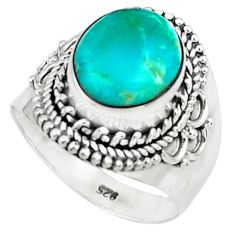 5.27cts natural green turquoise tibetan 925 silver solitaire ring size 7 p78759