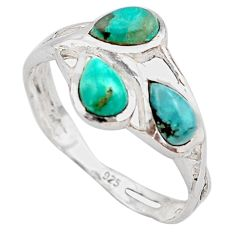 2.64cts natural green turquoise tibetan 925 sterling silver ring size 7.5 p83429
