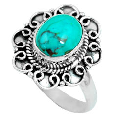 3.82cts natural green turquoise tibetan silver solitaire ring size 8.5 p63282