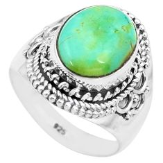 5.75cts natural green turquoise tibetan silver solitaire ring size 7.5 p72207