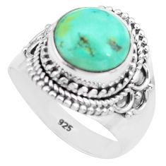 5.27cts natural green turquoise tibetan silver solitaire ring size 7.5 p72210