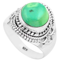 5.63cts natural green turquoise tibetan silver solitaire ring size 7.5 p72214