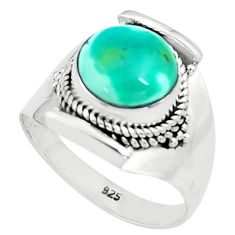5.74cts natural green turquoise tibetan silver solitaire ring size 8.5 p78747