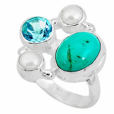 7.36cts natural green turquoise tibetan topaz 925 silver ring size 7 p52661