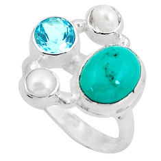 8.14cts natural green turquoise tibetan topaz 925 silver ring size 7.5 p52665