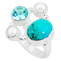 7.66cts natural green turquoise tibetan topaz 925 silver ring size 7 p52667