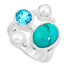 7.40cts natural green turquoise tibetan topaz 925 silver ring size 7 p52671