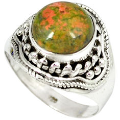 Natural green unakite 925 sterling silver solitaire ring jewelry size 7.5 j13754