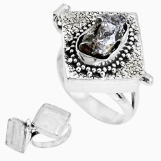 6.31cts natural grey meteorite gibeon 925 silver poison box ring size 7 p44877