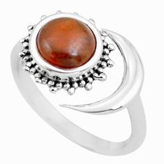 2.93cts natural jasper 925 silver solitaire adjustable moon ring size 8 p57767