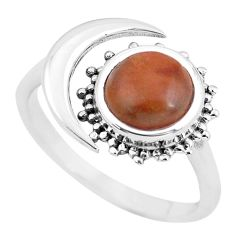 3.01cts natural jasper red 925 silver adjustable solitaire ring size 8.5 p60981