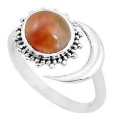 3.01cts natural jasper red 925 silver adjustable solitaire ring size 8 p60991