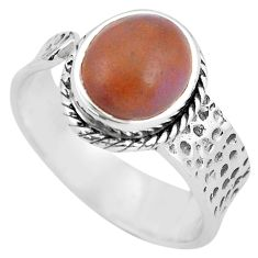 4.06cts natural jasper red 925 silver adjustable solitaire ring size 7.5 p60994