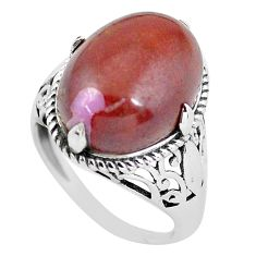 8.53cts natural jasper red 925 sterling silver solitaire ring size 7 p56998