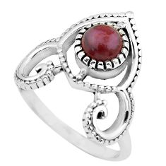 1.27cts natural jasper red 925 sterling silver solitaire ring size 7 p57790