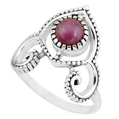 1.26cts natural jasper red 925 sterling silver solitaire ring size 8 p57791