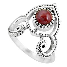 1.23cts natural jasper red 925 sterling silver solitaire ring size 8 p57792