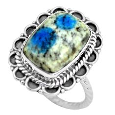 6.58cts natural k2 blue (azurite in quartz) silver solitaire ring size 8 d32125