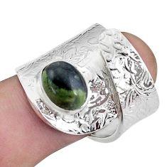 Natural kambaba jasper 925 silver solitaire adjustable ring size 7.5 p57007