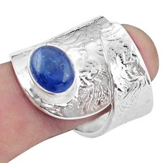 4.07cts natural kyanite 925 silver solitaire adjustable ring size 8.5 p57010