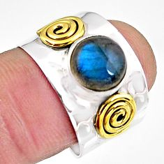 3.52cts natural labradorite 925 silver 14k gold solitaire ring size 8 p91137