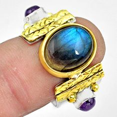 Natural labradorite amethyst 925 silver 14k gold solitaire ring size 7 p81139