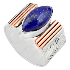 6.53cts natural lapis lazuli 925 silver 14k gold solitaire ring size 9.5 p81005