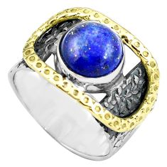 5.62cts natural lapis lazuli 925 silver 14k gold solitaire ring size 6.5 p87951