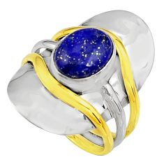 4.71cts natural lapis lazuli 925 silver 14k gold solitaire ring size 7.5 p91125