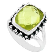 5.31cts natural lemon topaz 925 sterling silver solitaire ring size 8 p69985
