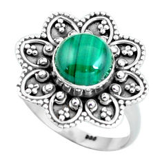 Clearance Sale- Natural malachite (pilot's stone) 925 silver solitaire ring size 8.5 d32052