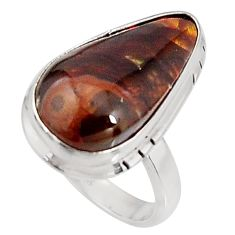 11.23cts natural mexican fire agate 925 silver 14k gold ring size 6 p92734