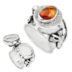 4.36cts natural mexican fire agate 925 silver poison box ring size 8 p75546