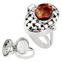 4.51cts natural mexican fire agate 925 silver poison box ring size 8 p92855