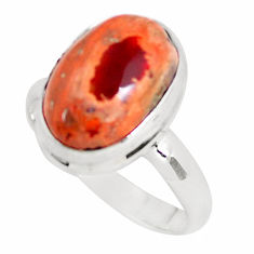 6.53cts natural mexican fire agate 925 silver solitaire ring size 8.5 p54527