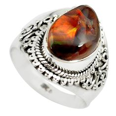 5.12cts natural mexican fire agate 925 silver solitaire ring size 7.5 p71854