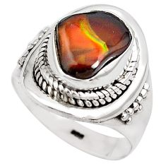 5.06cts natural mexican fire agate 925 silver solitaire ring size 6.5 p81307