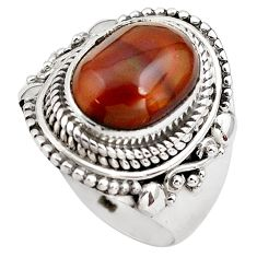 5.35cts natural mexican fire agate 925 silver solitaire ring size 8 p81308