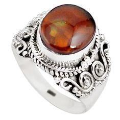 5.75cts natural mexican fire agate 925 silver solitaire ring size 8 p81314