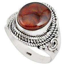 5.53cts natural mexican fire agate 925 silver solitaire ring size 8 p81316