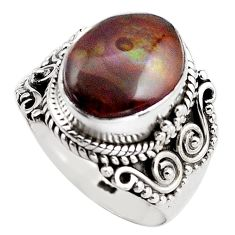 5.30cts natural mexican fire agate 925 silver solitaire ring size 7 p88914